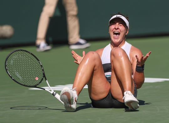 Bianca Andreescu celebrates winning the BNP Paribas Open final against Angelique Kerber in Indian Wells, March 17, 2019. Cancellation of the 2020 tournament, due to the coronavirus pandemic, delivering the Coachella Valley's tourism industry a loss of about $400 million in revenues.