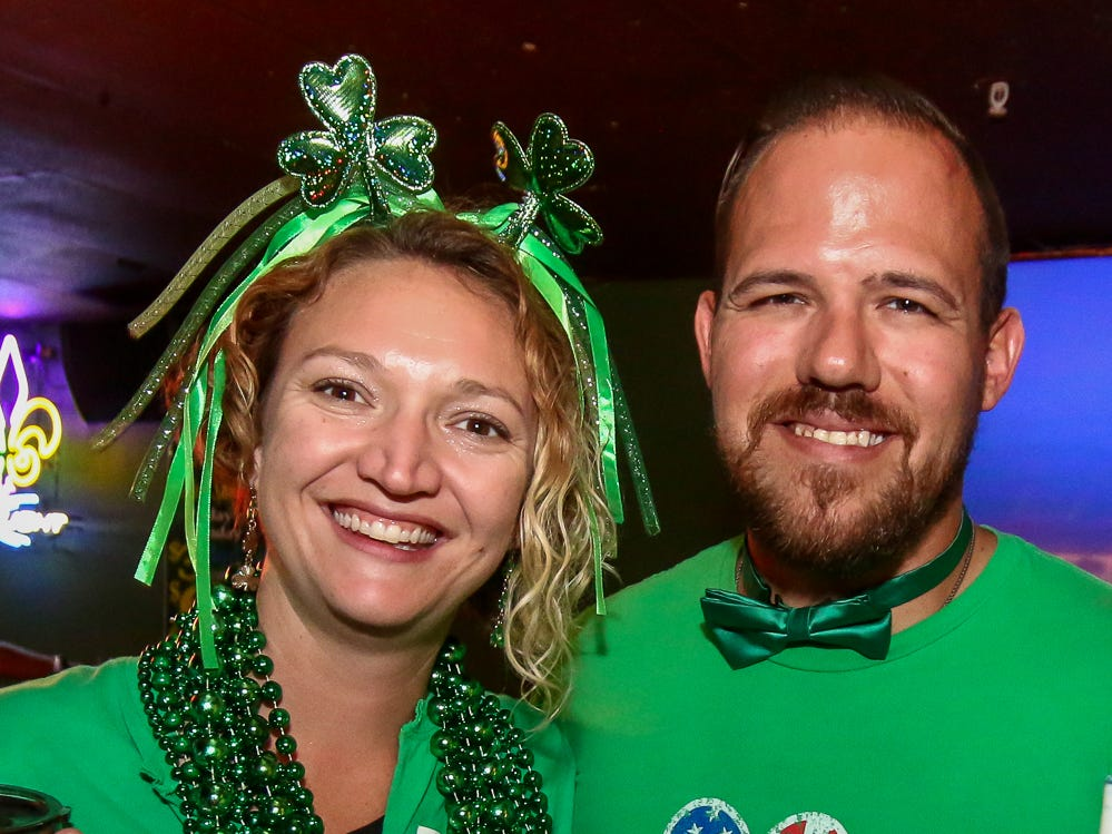 Hundreds of people make their way through downtown Pensacola during O'Riley's Irish Pub's 4th annual Grog March on Saturday, March 16, 2019. The event collected food and cash donations for Manna Food Pantries.