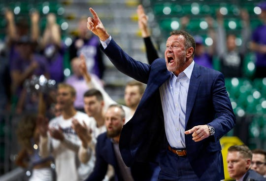 Grand Canyon coach Dan Majerle calls out to players during an NCAA college basketball game against New Mexico State for the Western Athletic Conference men's tournament championship Saturday, March 16, 2019, in Las Vegas. New Mexico State won 89-57.