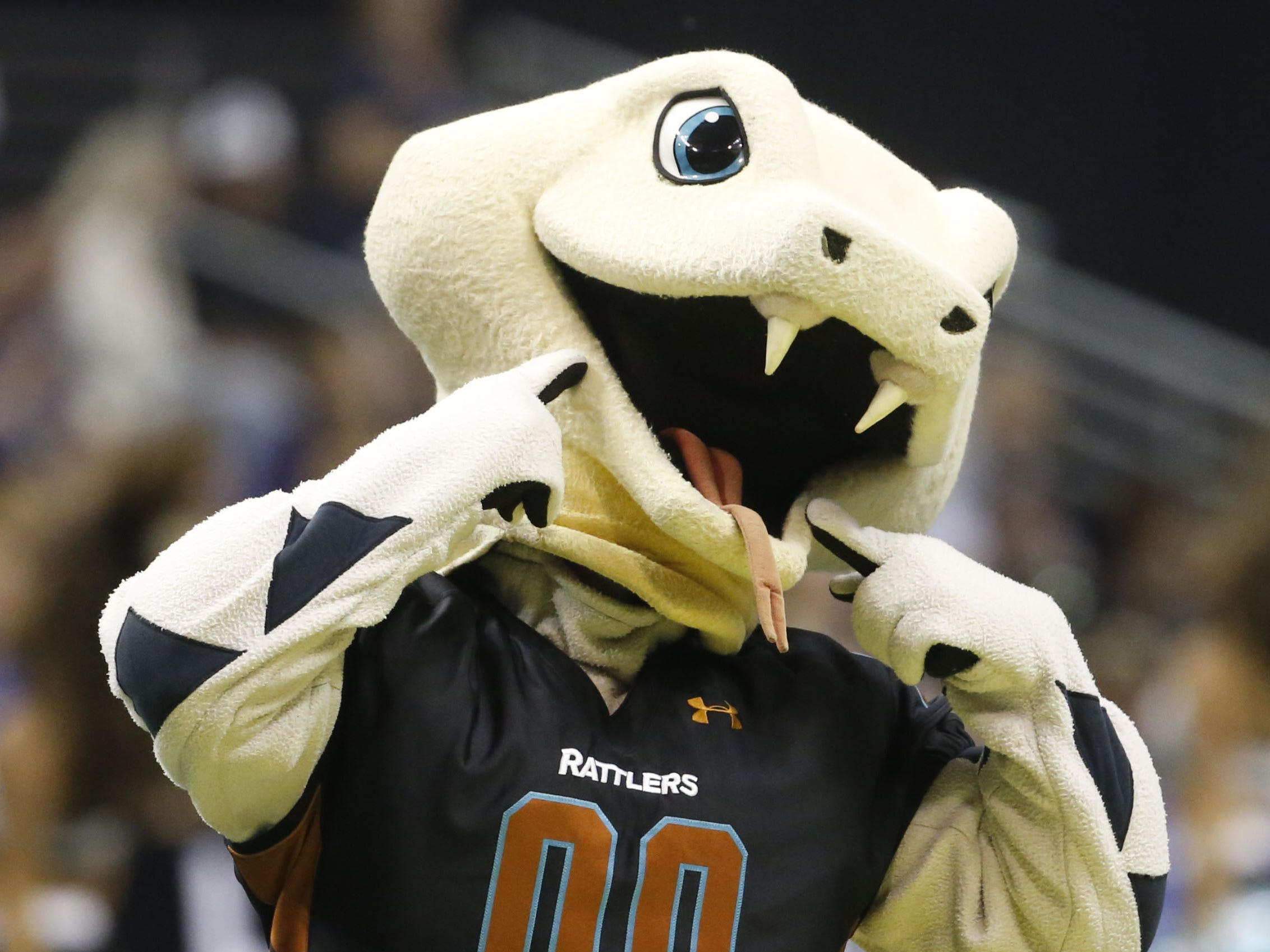 Stryker the Rattlers' mascot dances on the field during the first half at Talking Stick Resort Arena in Phoenix, Ariz. on March 16, 2019.