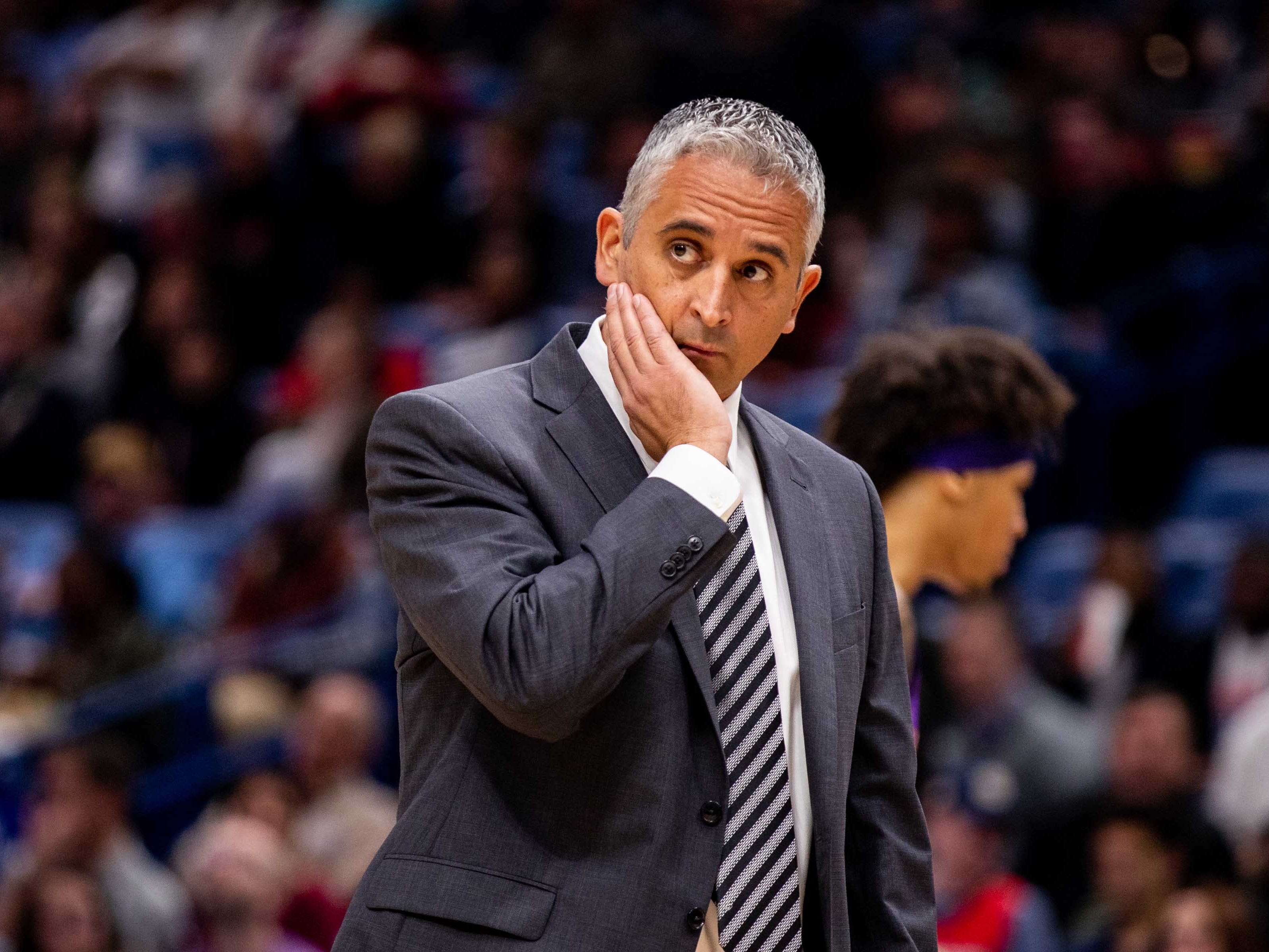 Mar 16, 2019; New Orleans, LA, USA; Phoenix Suns head coach Igor Kokoskov reacts to a play against New Orleans Pelicans during the second half at Smoothie King Center.