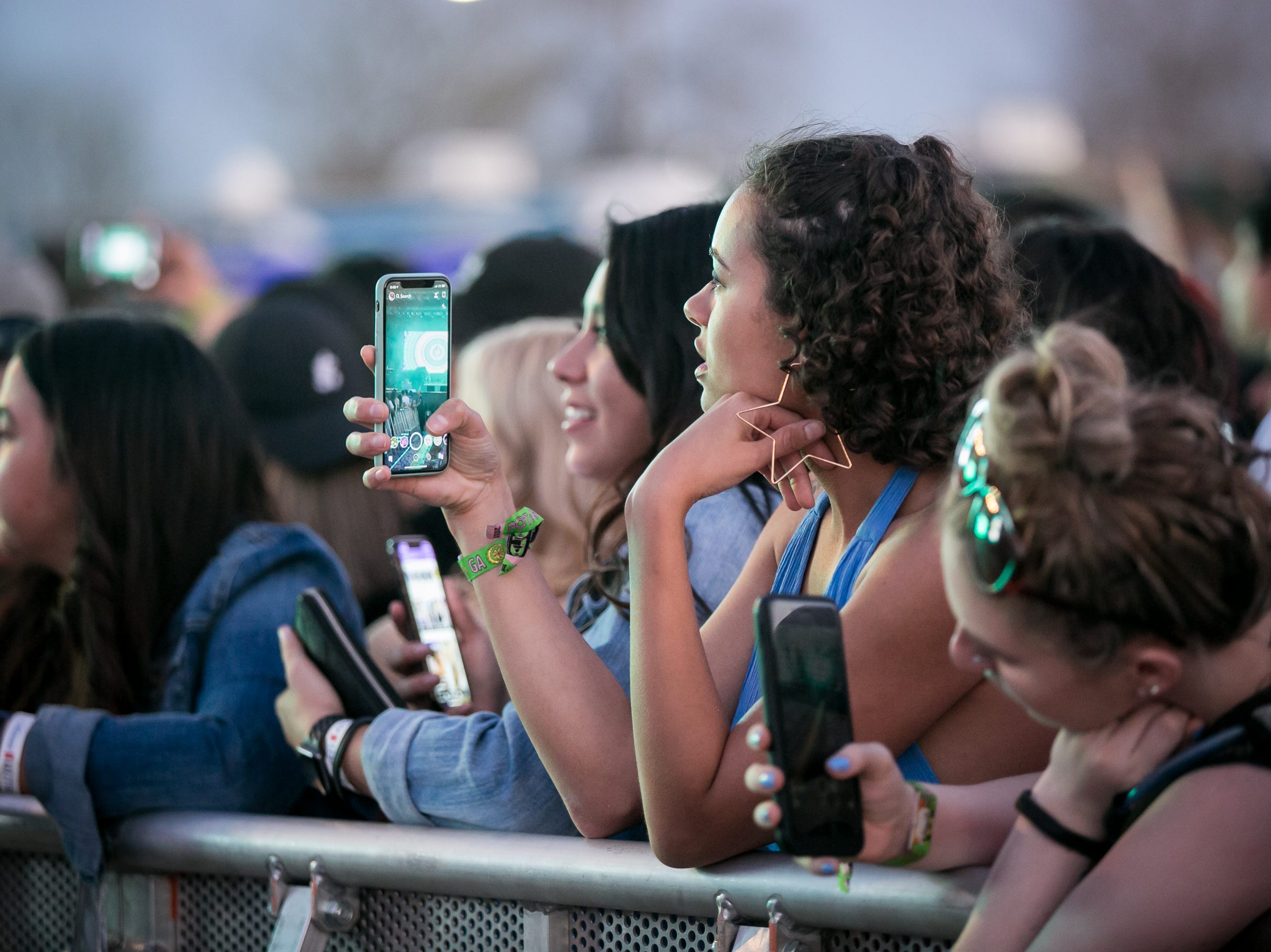 Fans eagerly await the start of Jhene Aiko's set during Pot of Gold Music Festival at Steele Indian School Park on March 16, 2019.