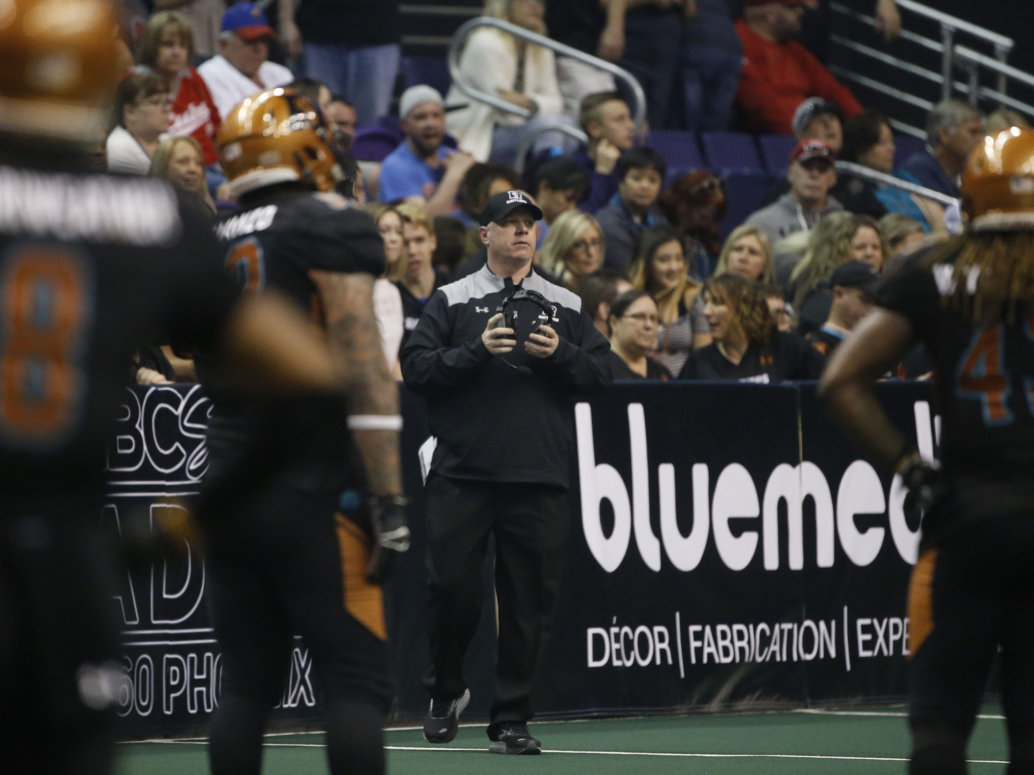 Rattlers' head coach Kevin Guy looks at his defense during the second half against the Sugar Skulls at Talking Stick Resort Arena in Phoenix, Ariz. on March 16, 2019.