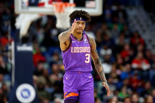Phoenix Suns forward Kelly Oubre Jr. (3) during the first half of an NBA basketball game in New Orleans, Saturday, March 16, 2019. (AP Photo/Tyler Kaufman)