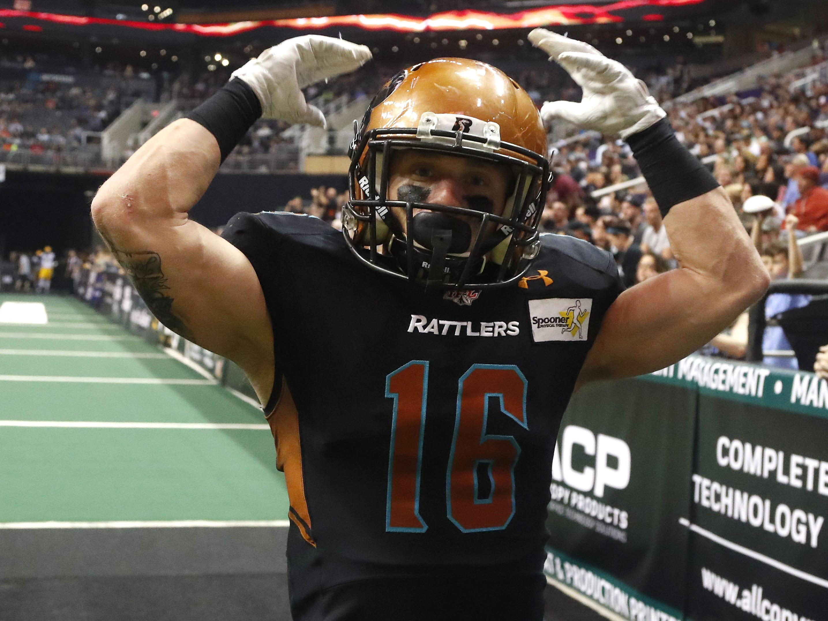 Rattlers' Jarrod Harrington (16) pumps up the fans during the second half against the Sugar Skulls at Talking Stick Resort Arena in Phoenix, Ariz. on March 16, 2019.