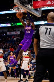 Mar 16, 2019; New Orleans, LA, USA; Phoenix Suns center Deandre Ayton (22) dunks the ball against New Orleans Pelicans during the first half at Smoothie King Center.