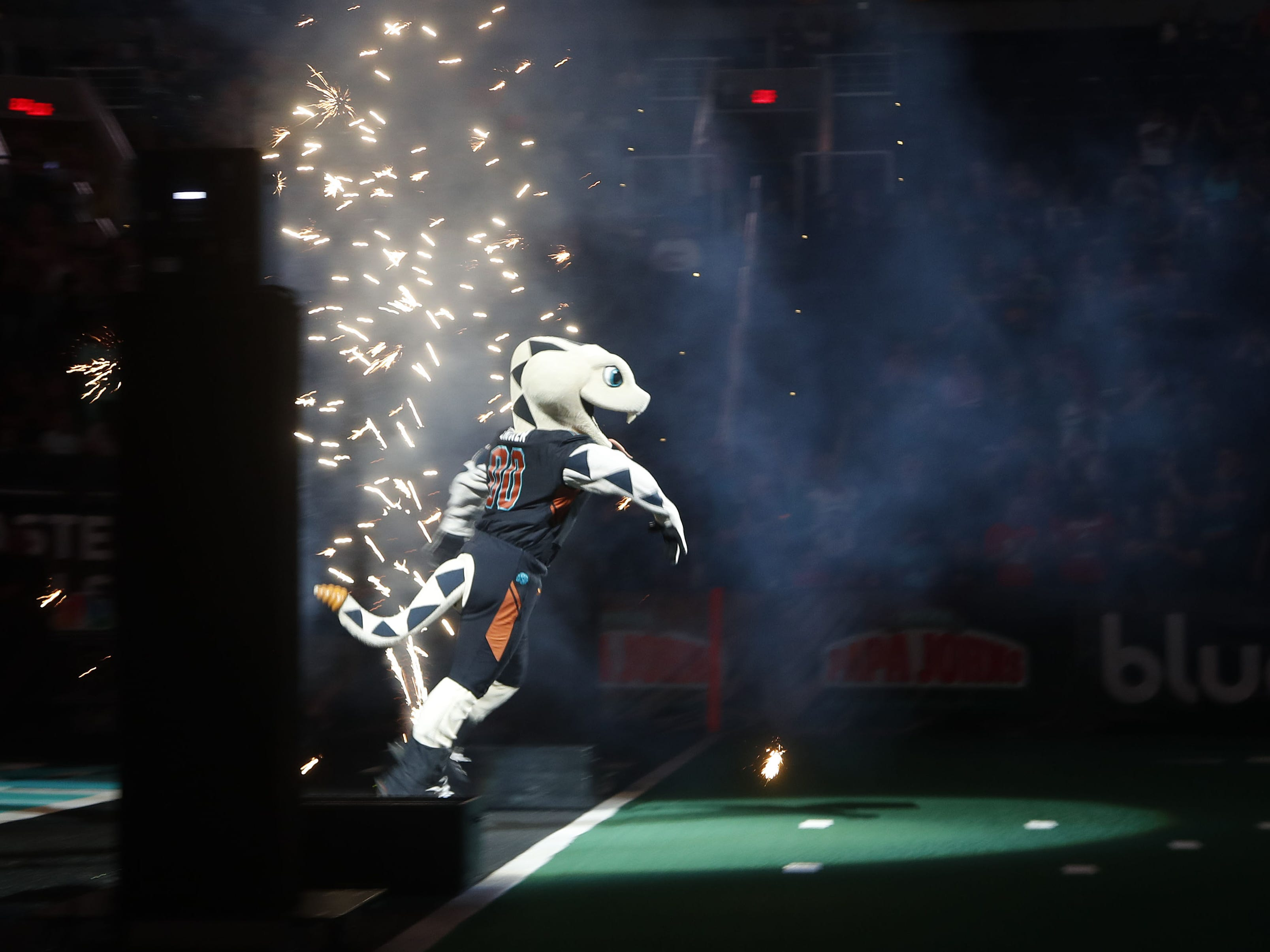 Stryker the Rattlers' mascot takes the field before the game against the Sugar Skulls at Talking Stick Resort Arena in Phoenix, Ariz. on March 16, 2019.