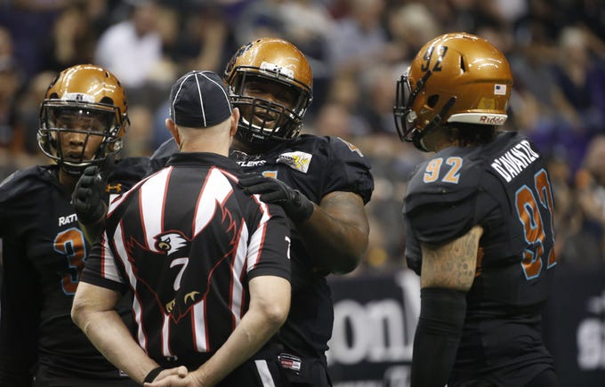 Rattlers' Lance McDowedell (44) talks with a referee during the first half of a game against the Sugar Skulls at Talking Stick Resort Arena in Phoenix, Ariz. on March 16, 2019.