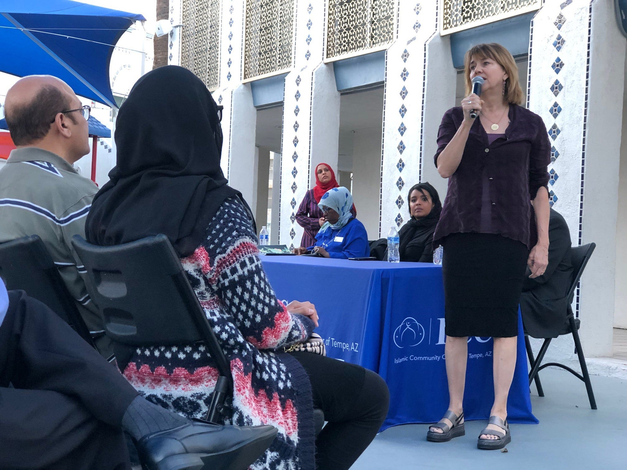 Tempe Vice Mayor Lauren Kuby speaks at a vigil on Saturday evening at the Islamic Community Center of Tempe to remember the victims of the New Zealand terror attack.