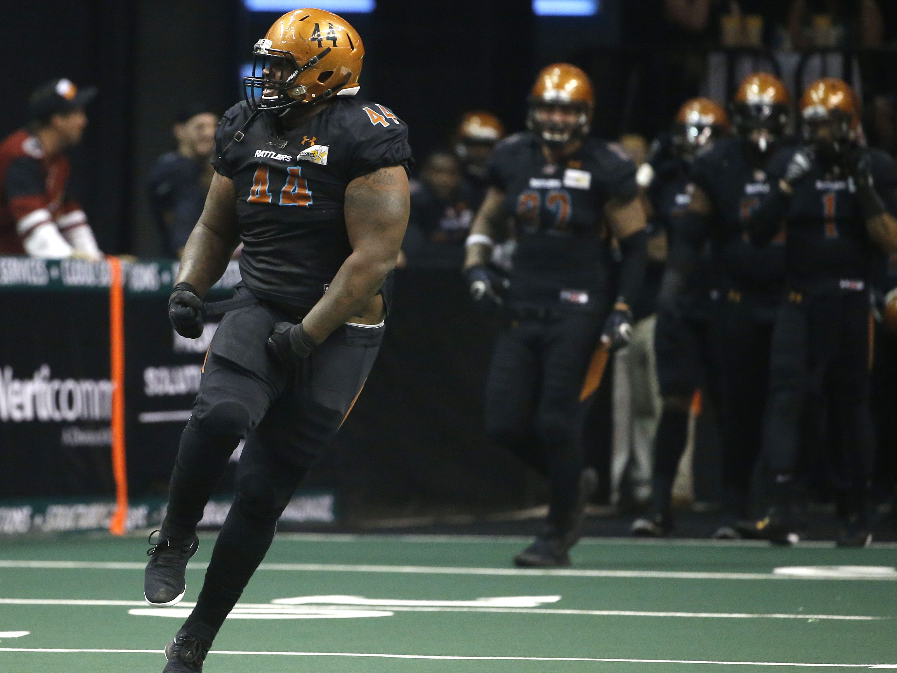 Rattlers' Lance McDowell (44) reacts after forcing a turnover against the Sugar Skulls during the first half at Talking Stick Resort Arena in Phoenix, Ariz. on March 16, 2019.