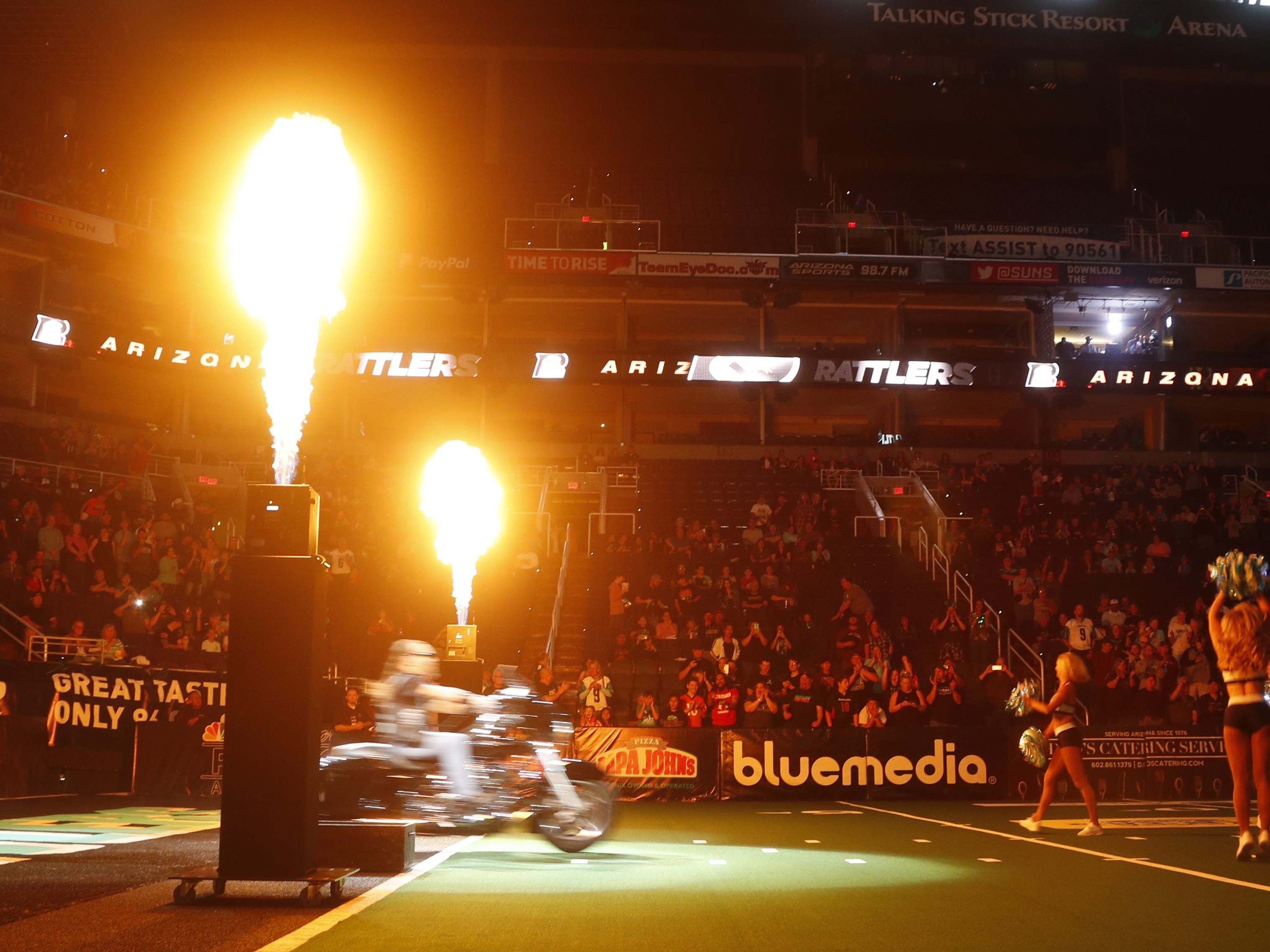 Rattlers' motorcycle takes the field before the game against the Sugar Skulls at Talking Stick Resort Arena in Phoenix, Ariz. on March 16, 2019.
