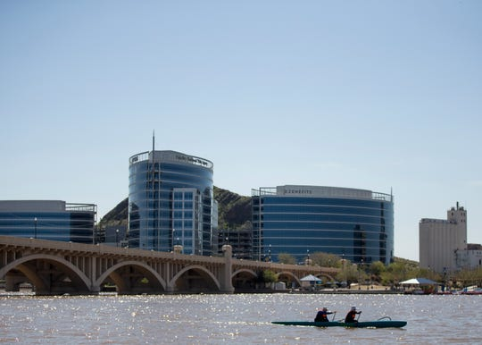 Kayakers enjoy a weekend of warm weather at Tempe Town Lake in Tempe, Ariz., on Saturday, March 16, 2019.