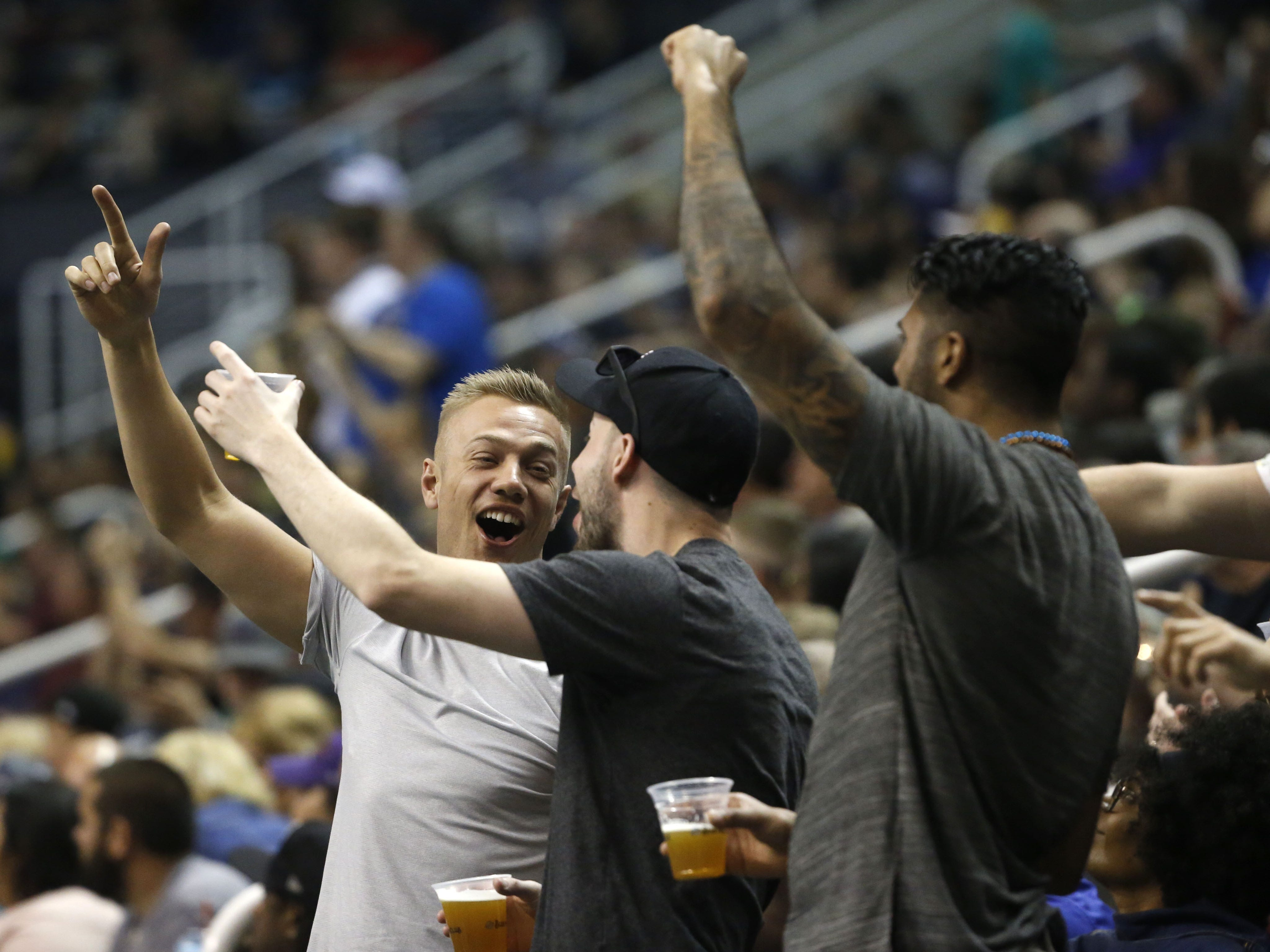 Rattlers fans react to a blocked field goal and touchdown during the first half against the Sugar Skulls at Talking Stick Resort Arena in Phoenix, Ariz. on March 16, 2019.