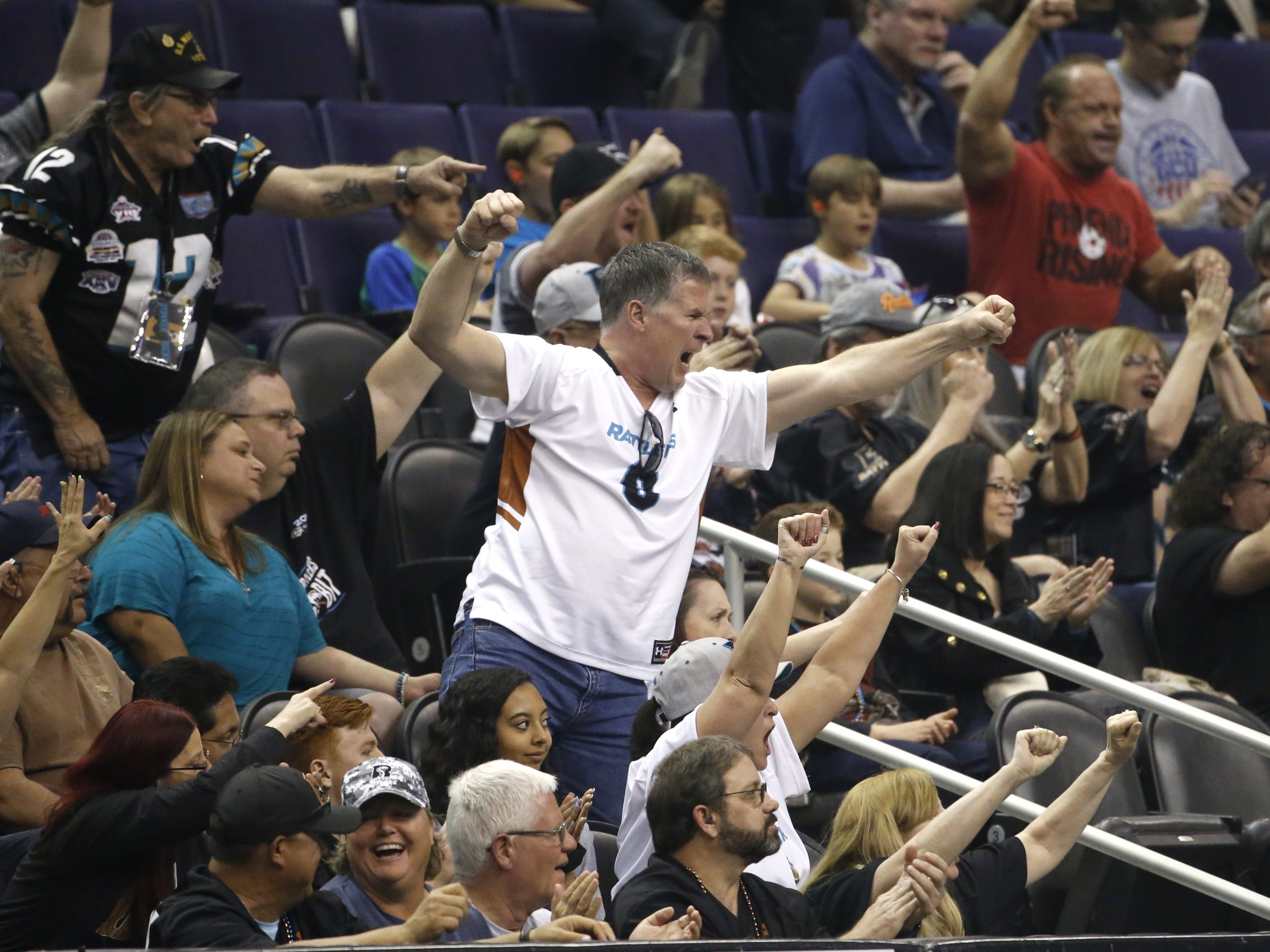Rattlers fans react to a turnover against the Sugar Skulls during the first half at Talking Stick Resort Arena in Phoenix, Ariz. on March 16, 2019.