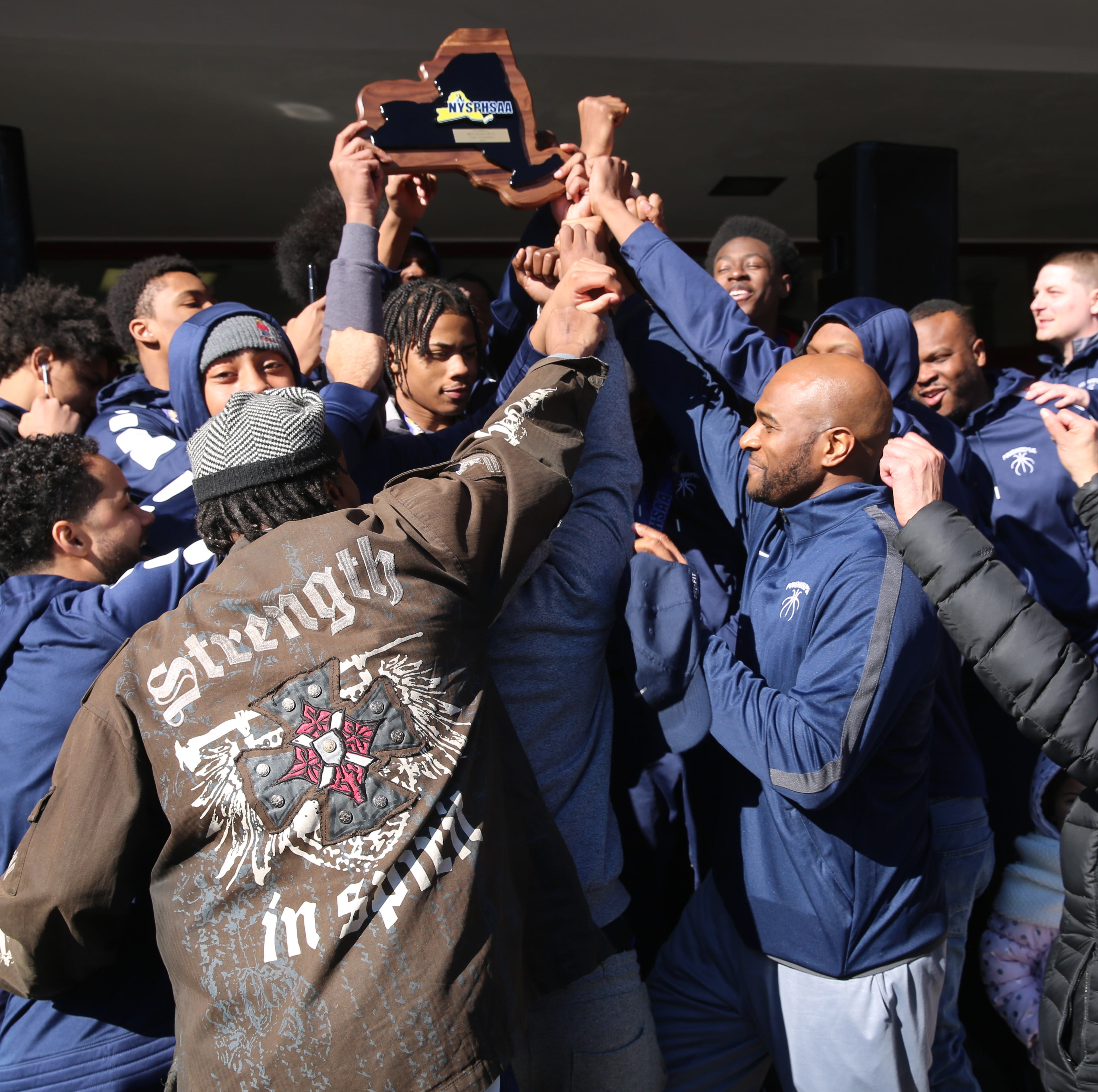 Poughkeepsie boys basketball celebrates state title with community in return party