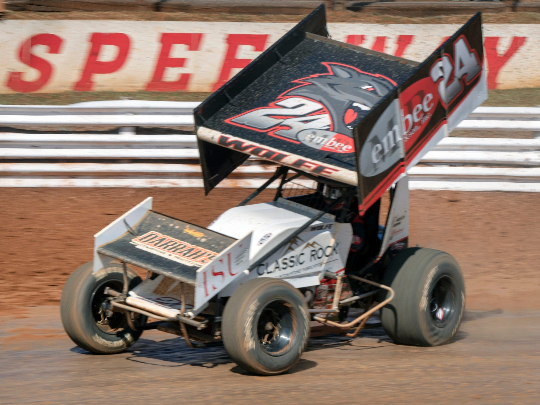 The #24 car driven by Lucas Wolfe takes a turn during the Williams Grove season opener for 410 sprints Sunday March 17, 2019. Wolfe won the race.