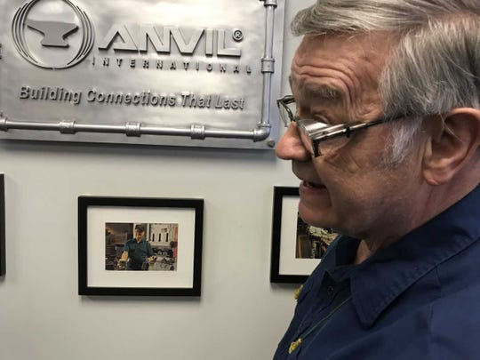 Dennis Woods, 78, has worked at Anvil International since March 1959. he is retiring at the end of this month.