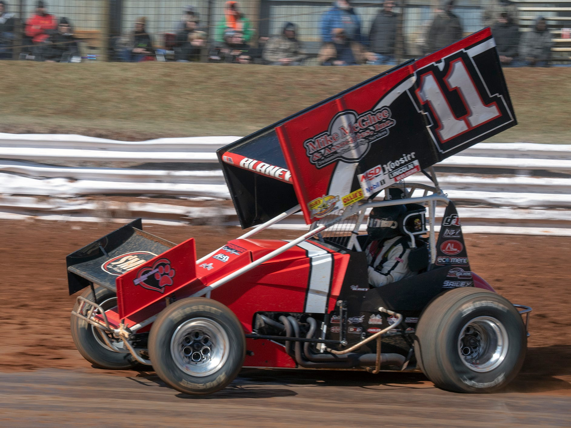 The #11 car driven by TJ Stutts races during the Williams Grove season opener for 410 sprints Sunday March 17, 2019.