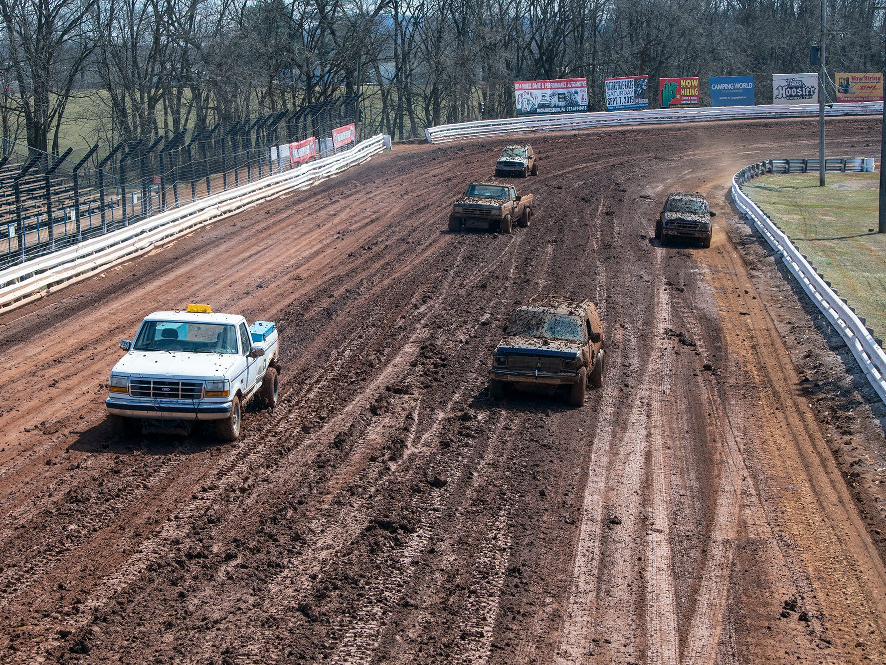 The track is prepared before the Williams Grove season opener for 410 sprints Sunday March 17, 2019.