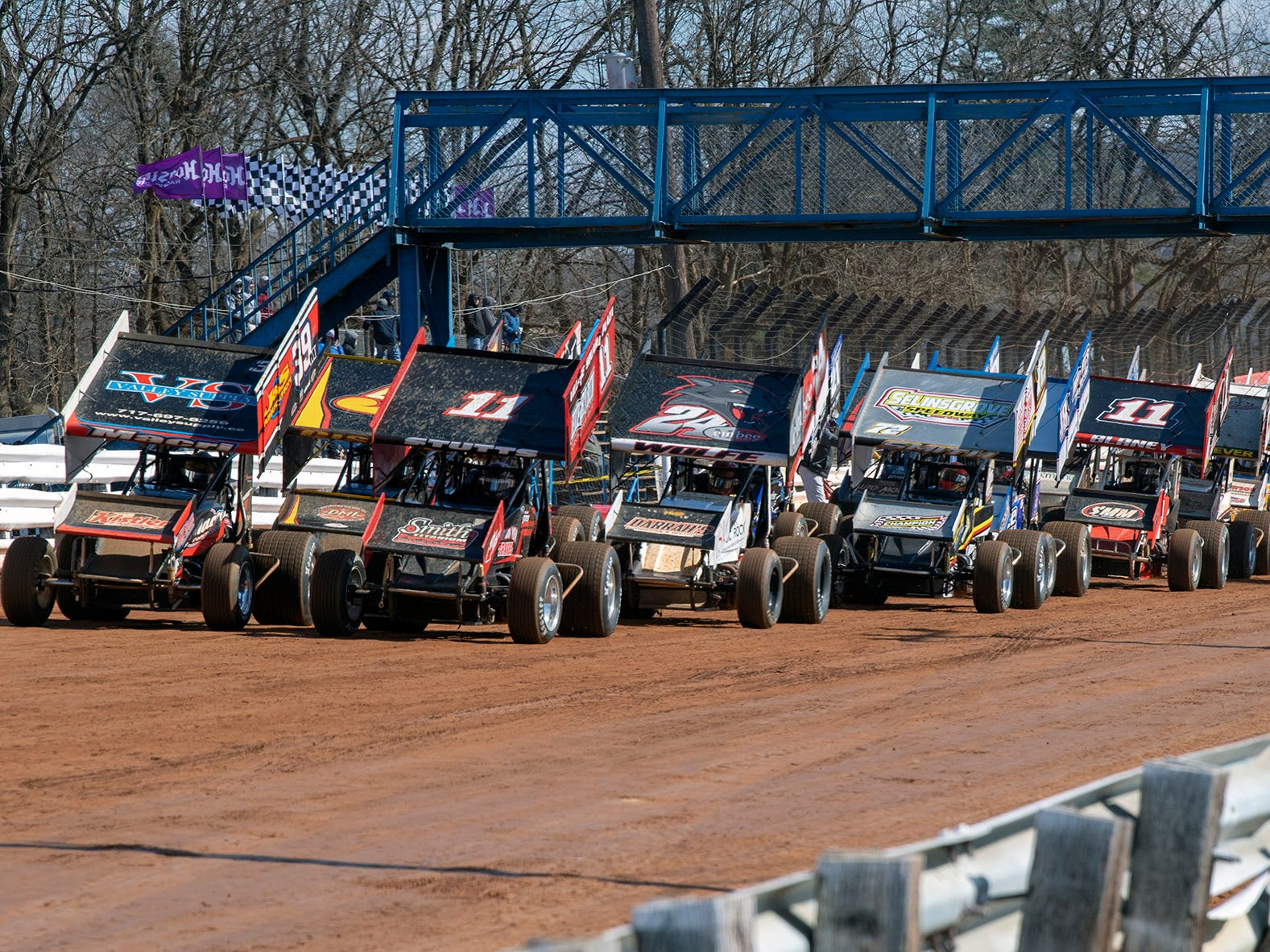 The cars get in line before the feature event at Williams Grove season opener for 410 sprints Sunday March 17, 2019.