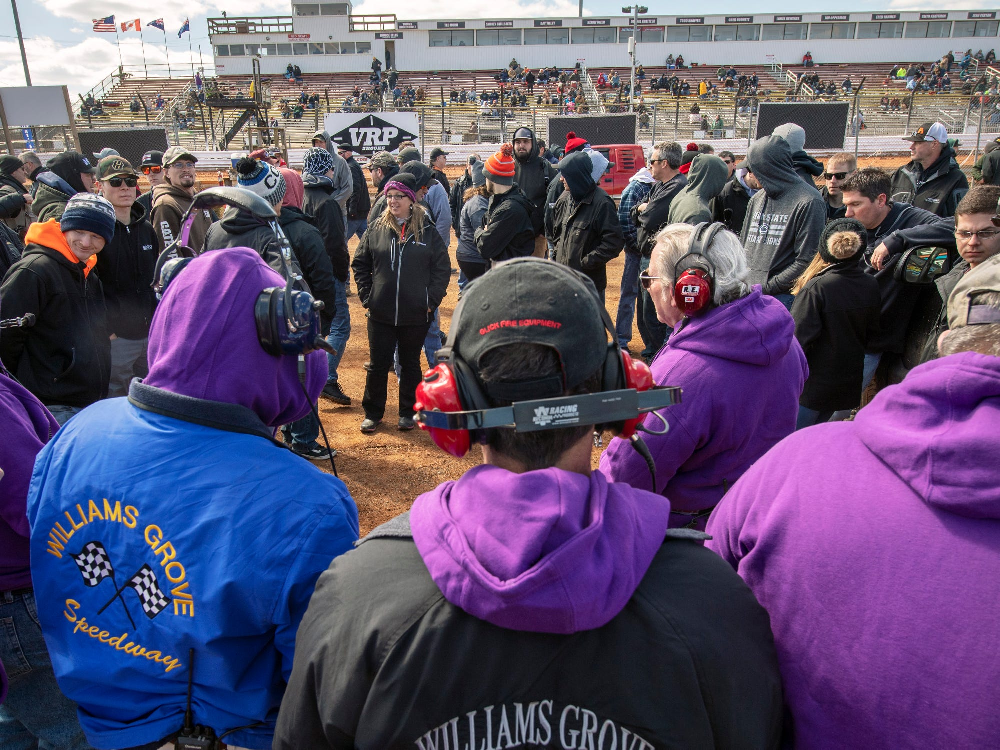 A meeting for drivers in the pit before the Williams Grove season opener for 410 sprints Sunday March 17, 2019.