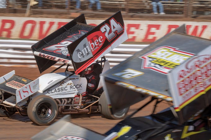 The #24 car driven by Lucas Wolfe, is beside the #72 car driven by Ryan Smith during the Williams Grove season opener for 410 sprints Sunday March 17, 2019. Smith placed first in the third heat, but Wolfe won the feature event.