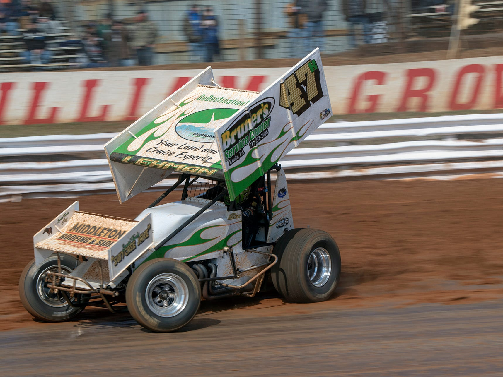 The #47k car driven by Kody Lehman takes a turn during the Williams Grove season opener for 410 sprints Sunday March 17, 2019.