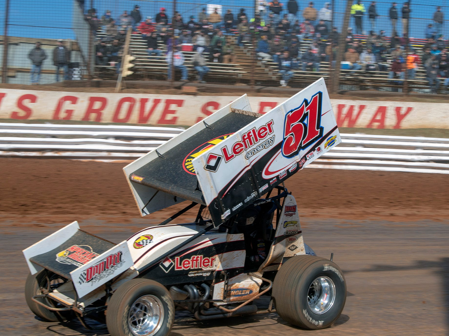 The 51 car, driven by Freddie Rahmer, takes a turn at the Williams Grove season opener for 410 sprints Sunday March 17, 2019. Rahmer was back on the track after crashing a car a week earlier during the Ice Breaker at Lincoln Speedway.