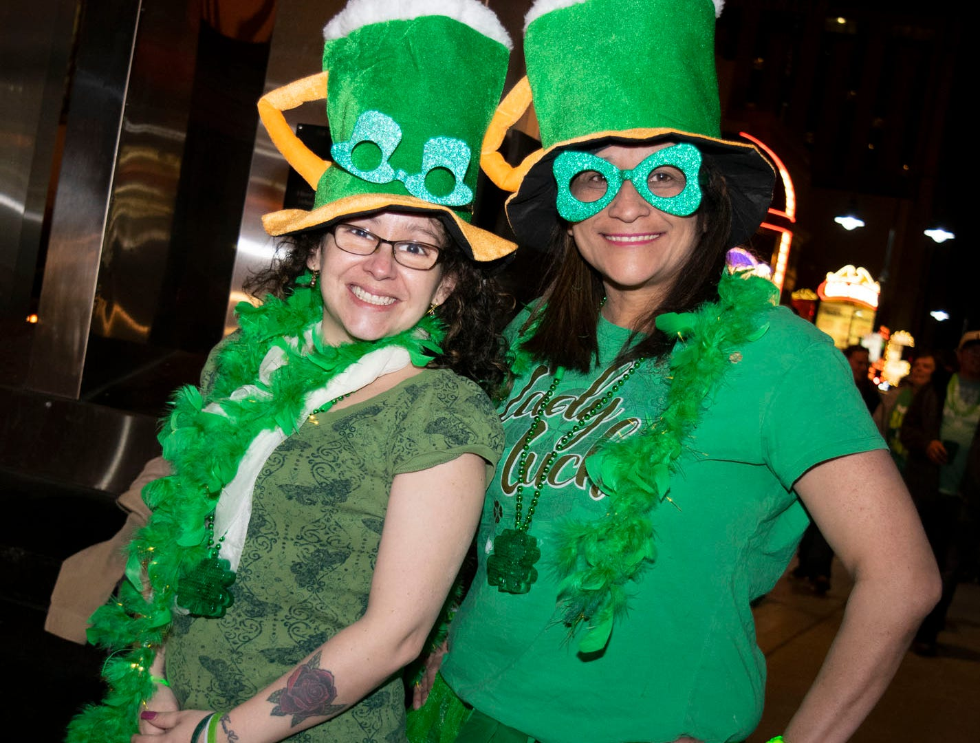 Sisi Parada and Maria Hauck attend the 2019 Leprechaun Crawl on Saturday, March 16, 2019. Reno, Nev.