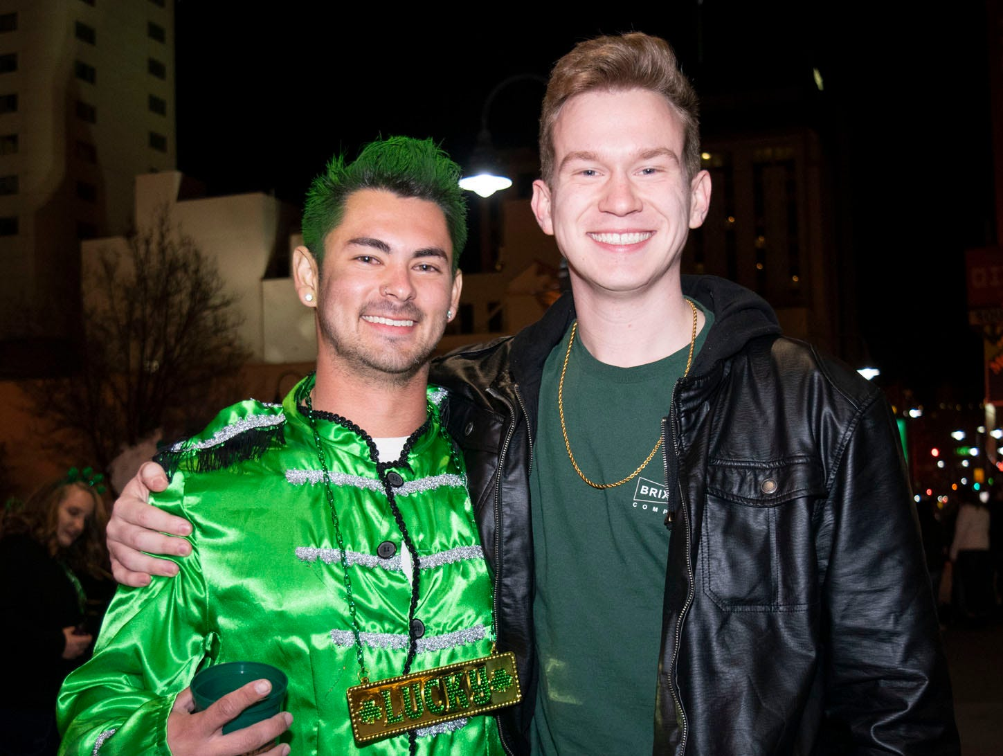 Nick Carlsen and Timothy Smiith attend the 2019 Leprechaun Crawl on Saturday, March 16, 2019. Reno, Nev.