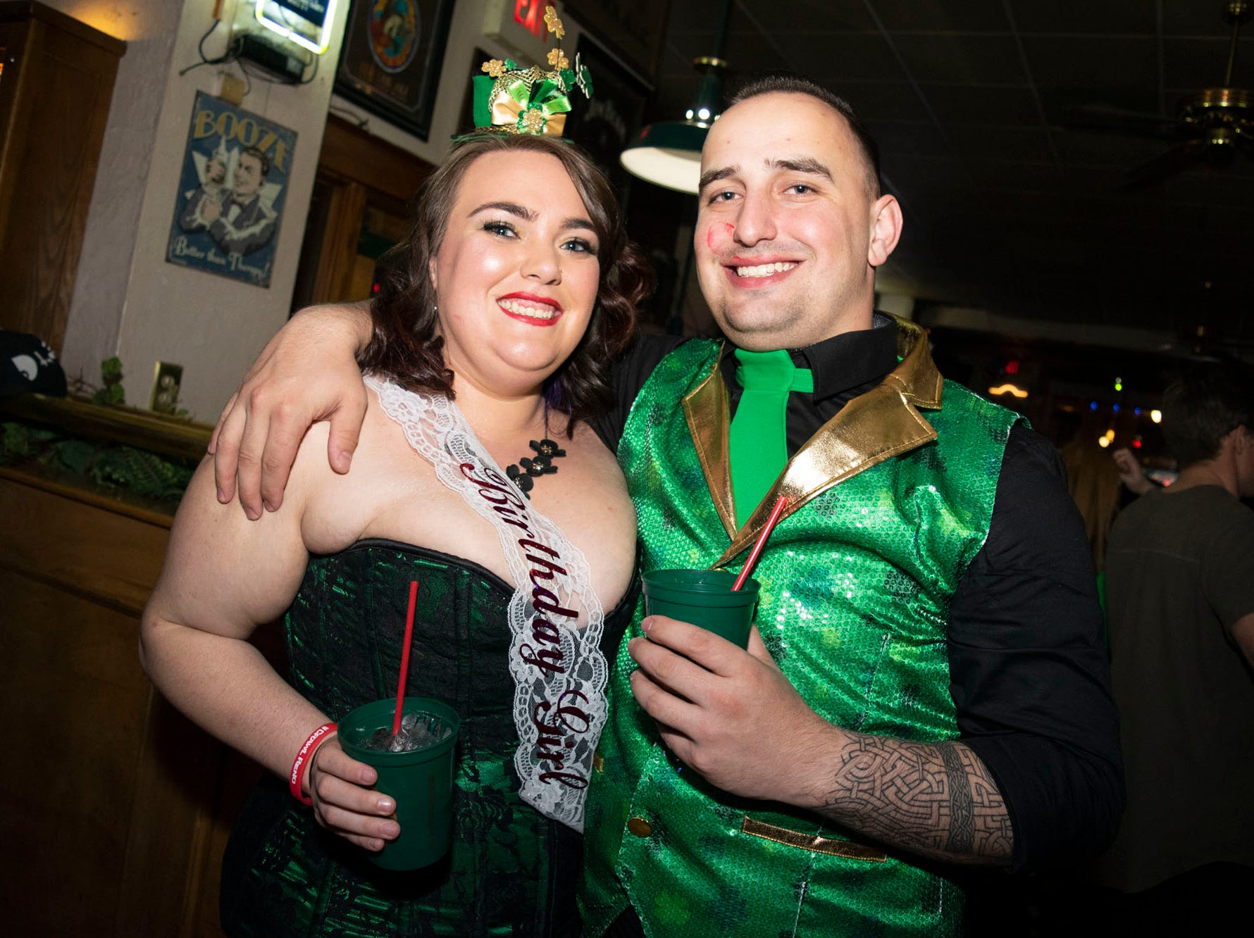 Ashley Farris and Joseph Harrison attend the 2019 Leprechaun Crawl on Saturday, March 16, 2019. Reno, Nev.