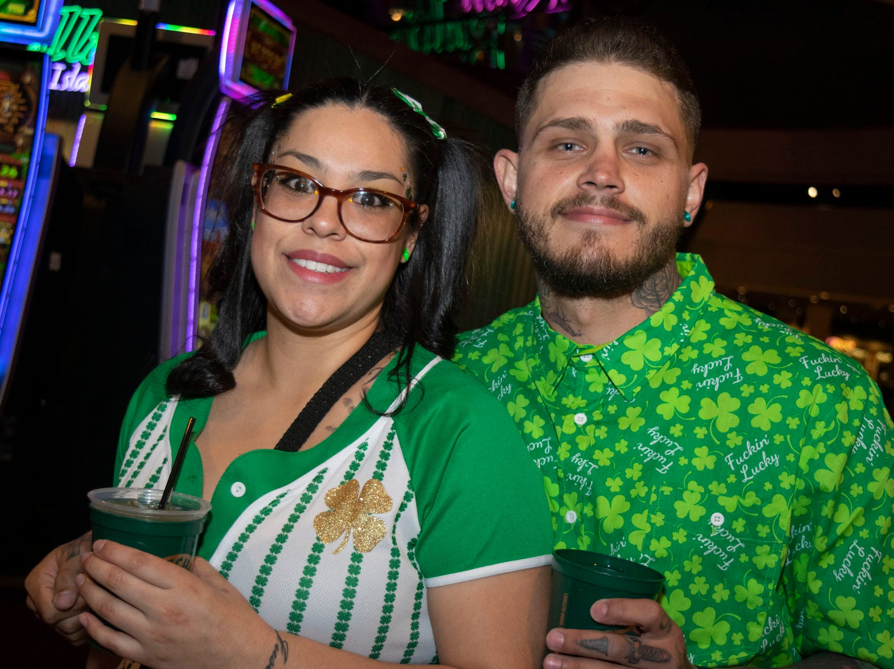 Corrina and Justin Kelly attend the 2019 Leprechaun Crawl on Saturday, March 16, 2019. Reno, Nev.
