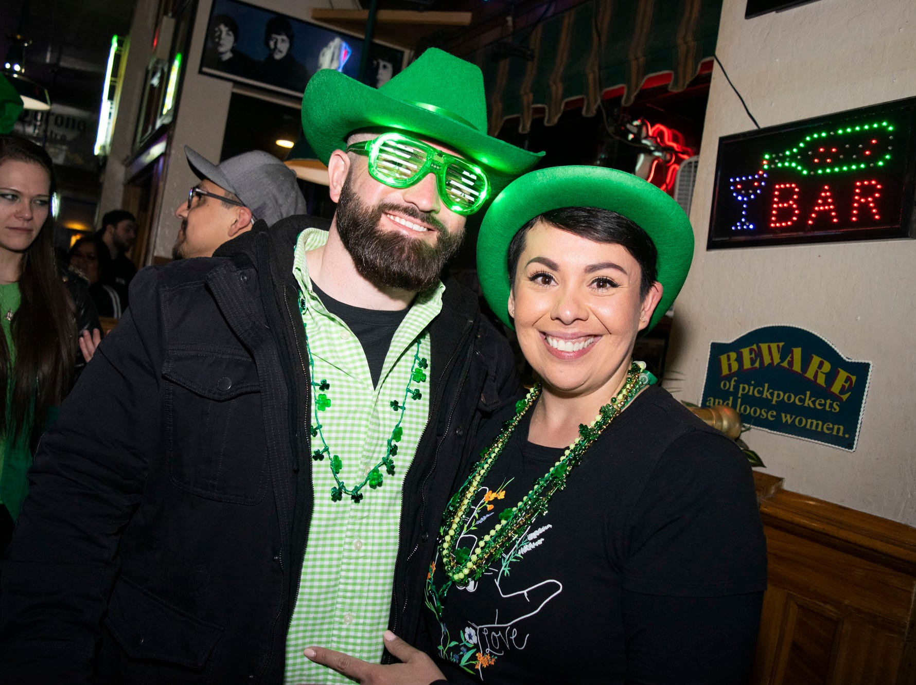 Matt Randazzo and Letty Fernandez attend the 2019 Leprechaun Crawl on Saturday, March 16, 2019. Reno, Nev.