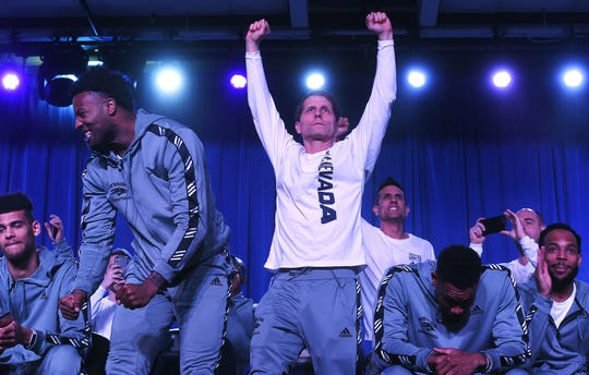 Head coach Eric Musselman and the Nevada basketball team react to earning the No. 7 seed in the West region for the upcoming NCAA Basketball Tournament on March 17, 2019.