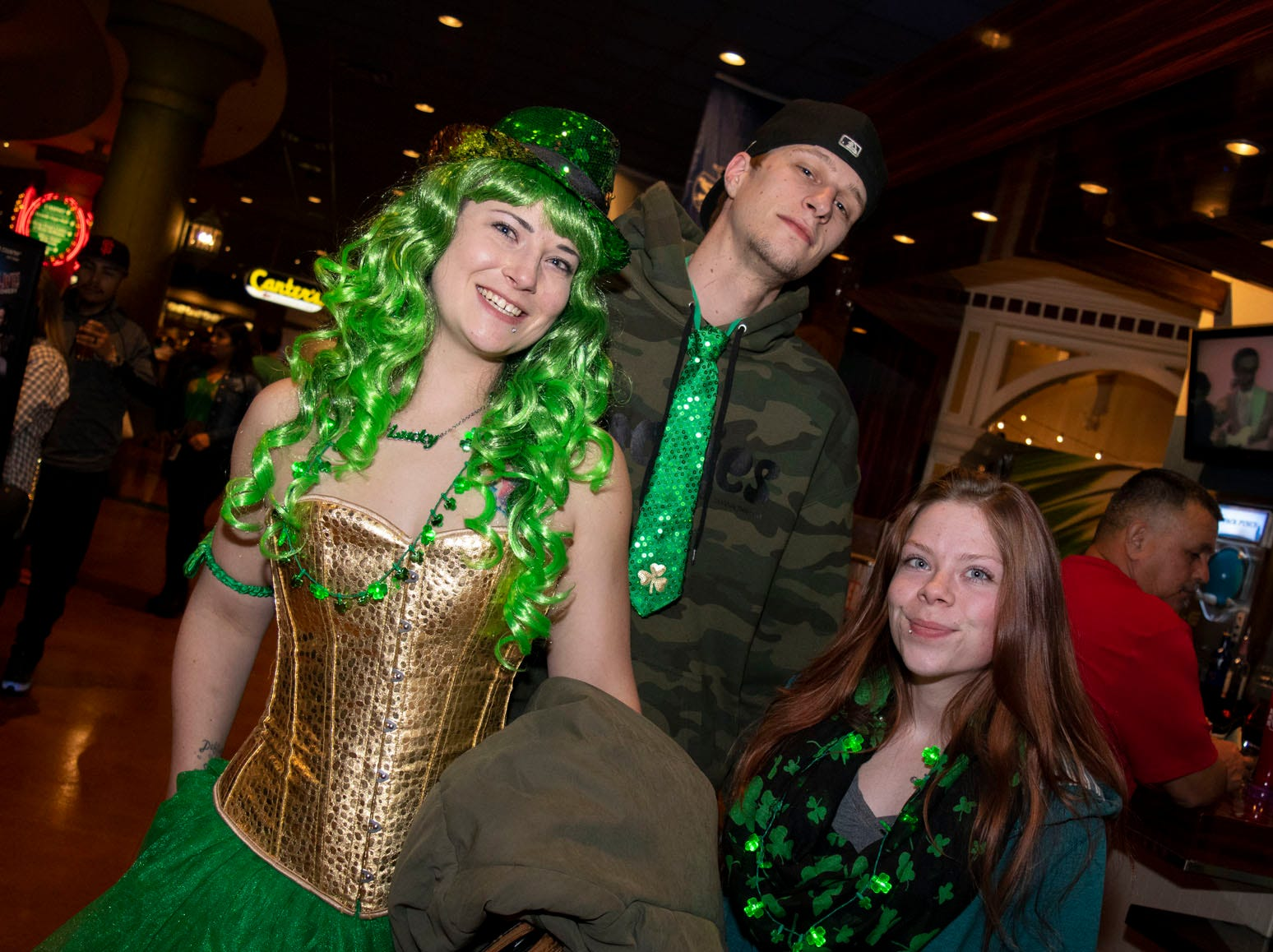 Nicole Stock, Dillon Cattonach, and Krystal Starr attend the 2019 Leprechaun Crawl on Saturday, March 16, 2019. Reno, Nev.