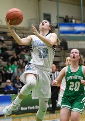 Midlakes' Alaina Forbes takes a shot during the Class B State Championship at Hudson Valley Community College on March 16, 2019, in Troy, N.Y.