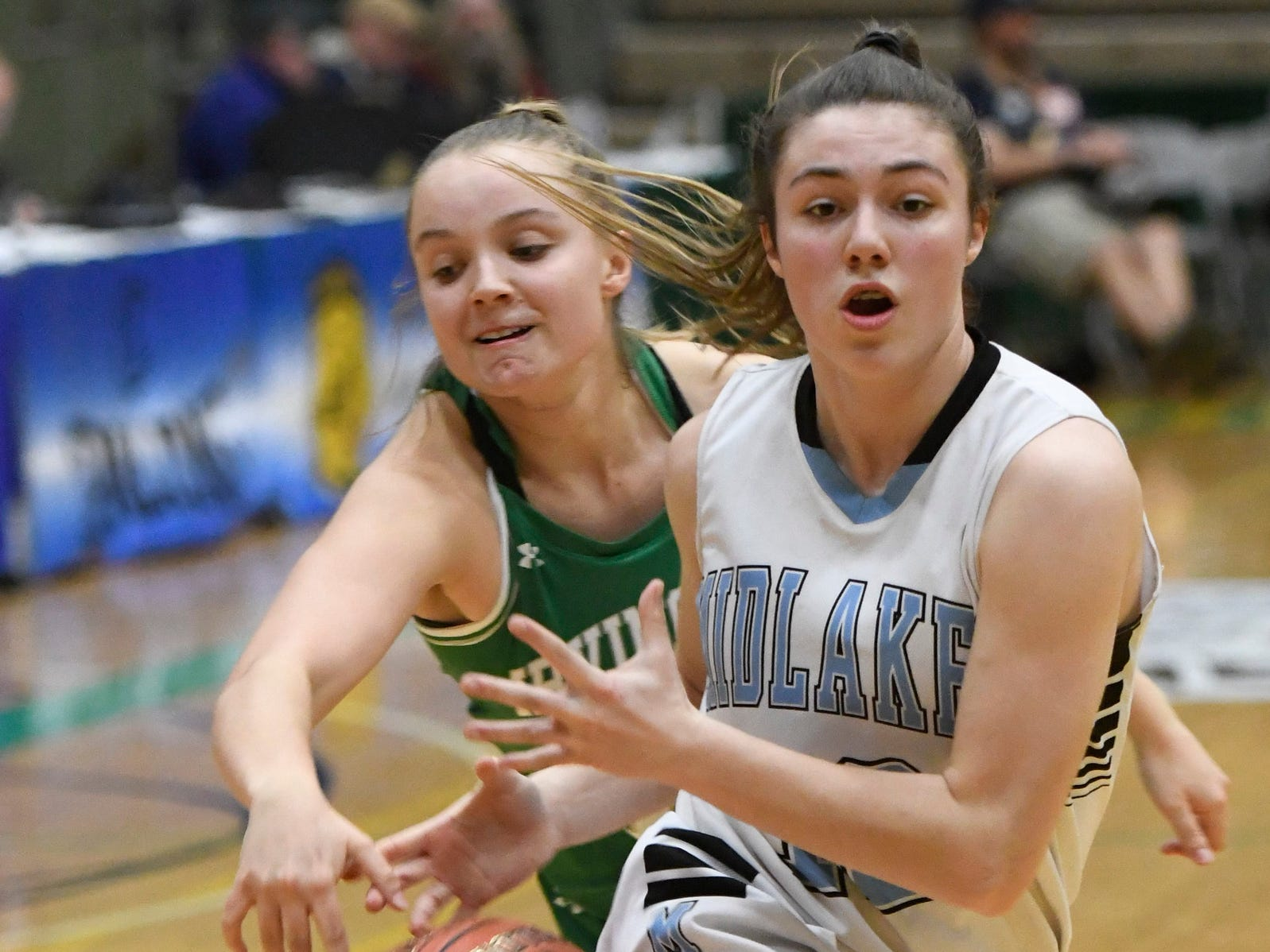 Midlakes' Alaina Forbes has the ball slapped away during the Class B State Championship at Hudson Valley Community College on March 16, 2019, in Troy, N.Y.