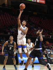 Wi-Hi's Jaden Baker drives to the basket against Patterson High School during the MPSSA 2A boys state championship on Saturday, March 16, 2019 at The Xfinity Center in College Park, Md.
