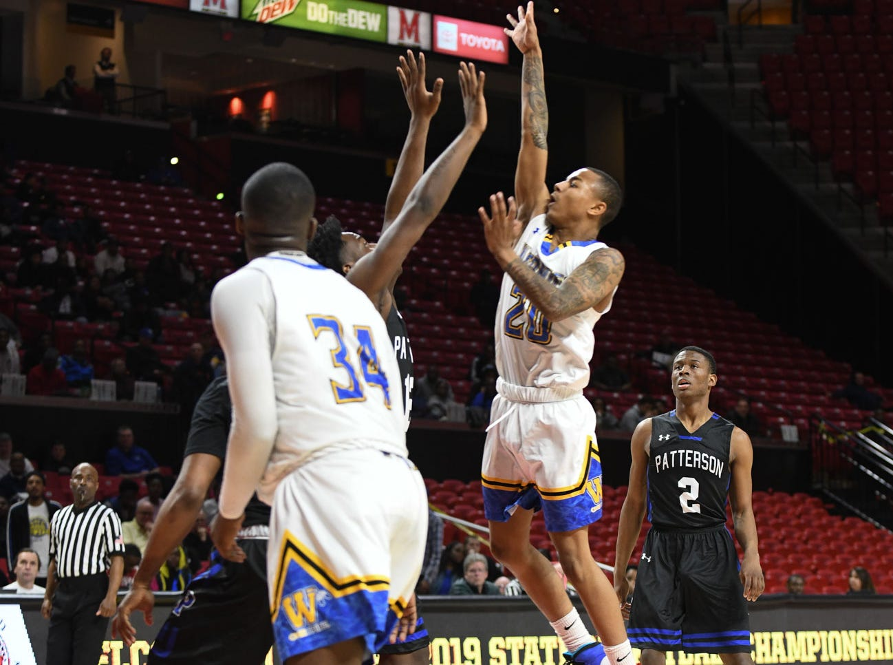 Wi-Hi's Dorian Stevens with the jumper against Patterson High School during the MPSSA 2A boys state championship on Saturday, March 16, 2019 at The Xfinity Center in College Park, Md.