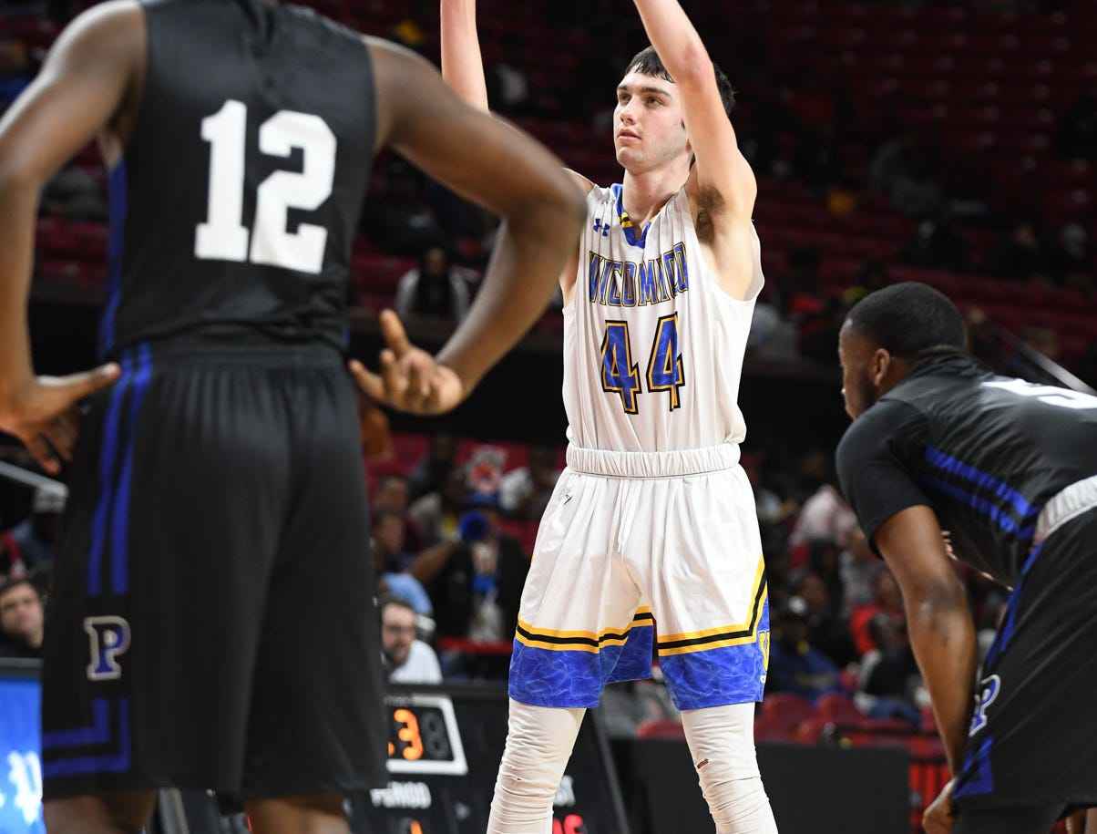 Wi-Hi's Matt Lowe complete his foul shot against Patterson High School during the MPSSA 2A boys state championship on Saturday, March 16, 2019 at The Xfinity Center in College Park, Md.