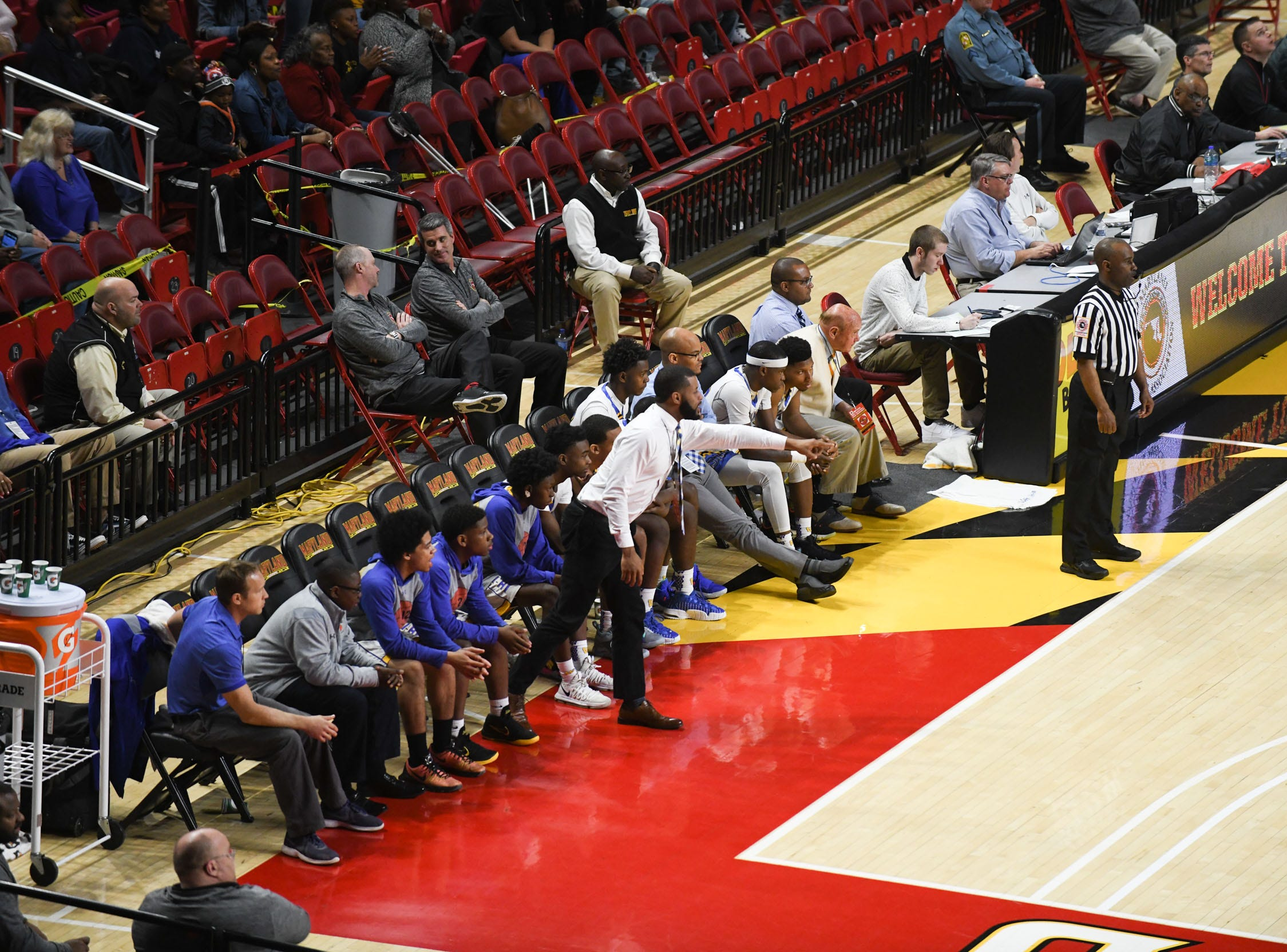 Wi-Hi's bench against Patterson High School during the MPSSA 2A boys state championship on Saturday, March 16, 2019 at The Xfinity Center in College Park, Md.