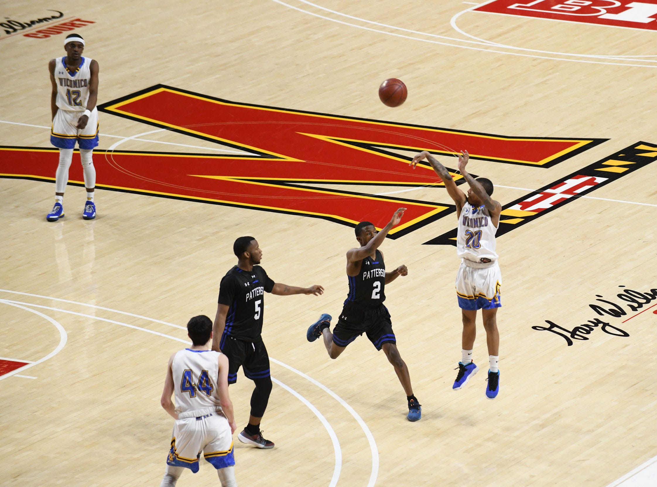 Wi-Hi's Dorian Stevens with the long 3-point shot against Patterson High School during the MPSSA 2A boys state championship on Saturday, March 16, 2019 at The Xfinity Center in College Park, Md.