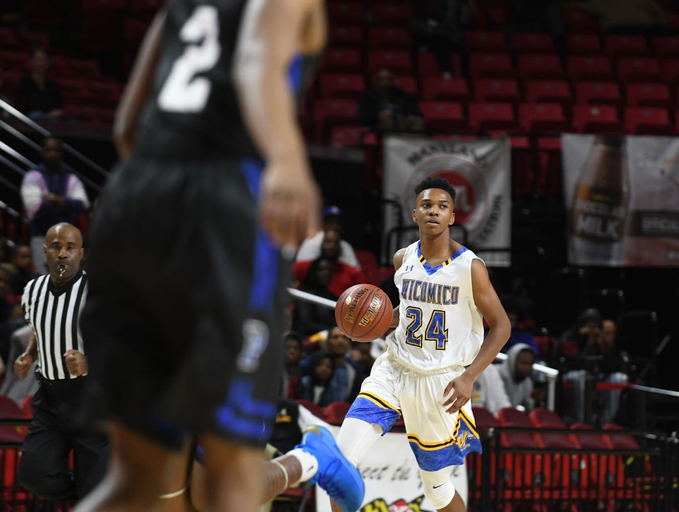 Wi-Hi's Jaden Baker brings the ball down the court against Patterson High School during the MPSSA 2A boys state championship on Saturday, March 16, 2019 at The Xfinity Center in College Park, Md.