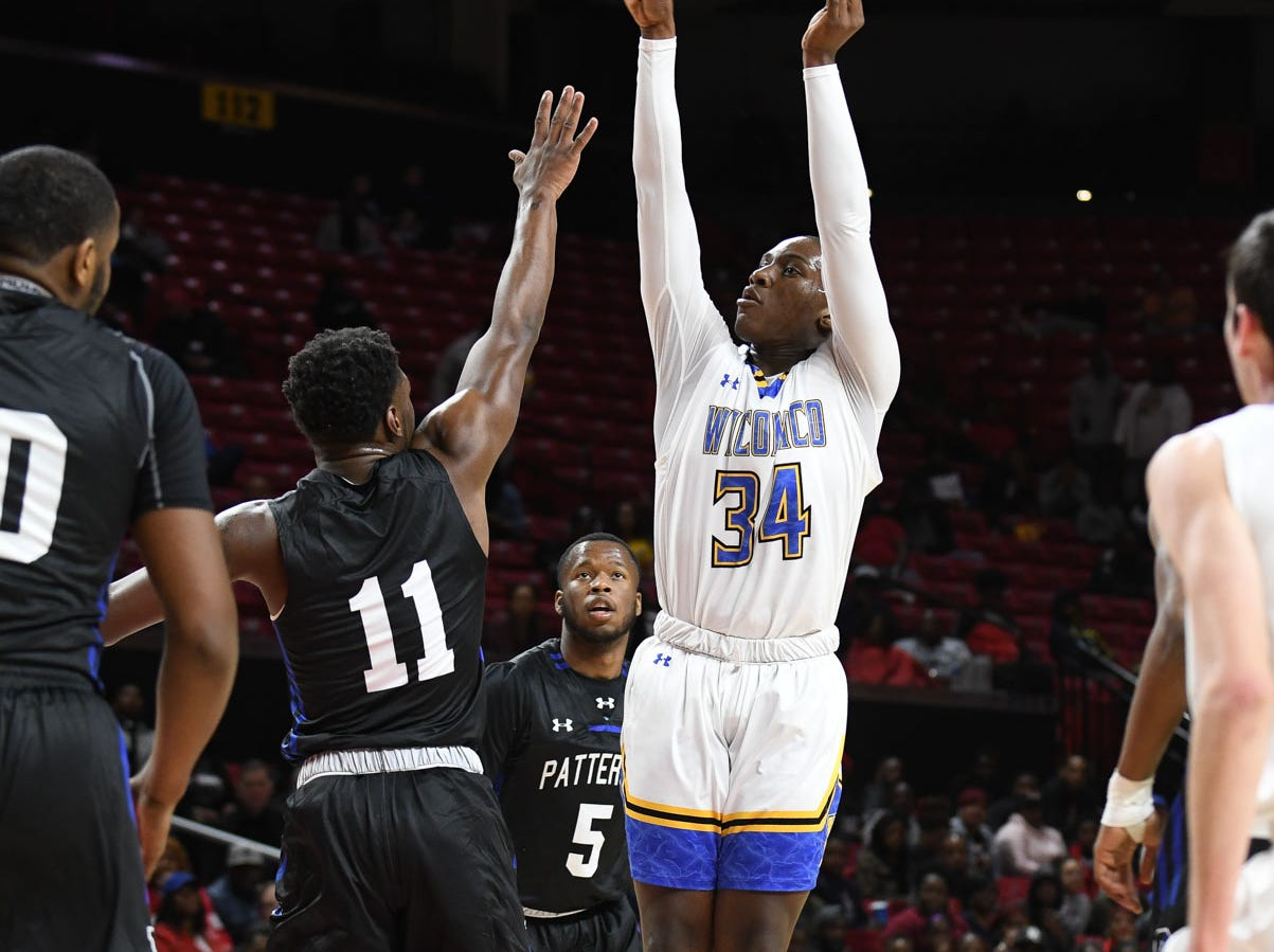 Wi-Hi's Jayson Handy with the jumper against Patterson High School during the MPSSA 2A boys state championship on Saturday, March 16, 2019 at The Xfinity Center in College Park, Md.