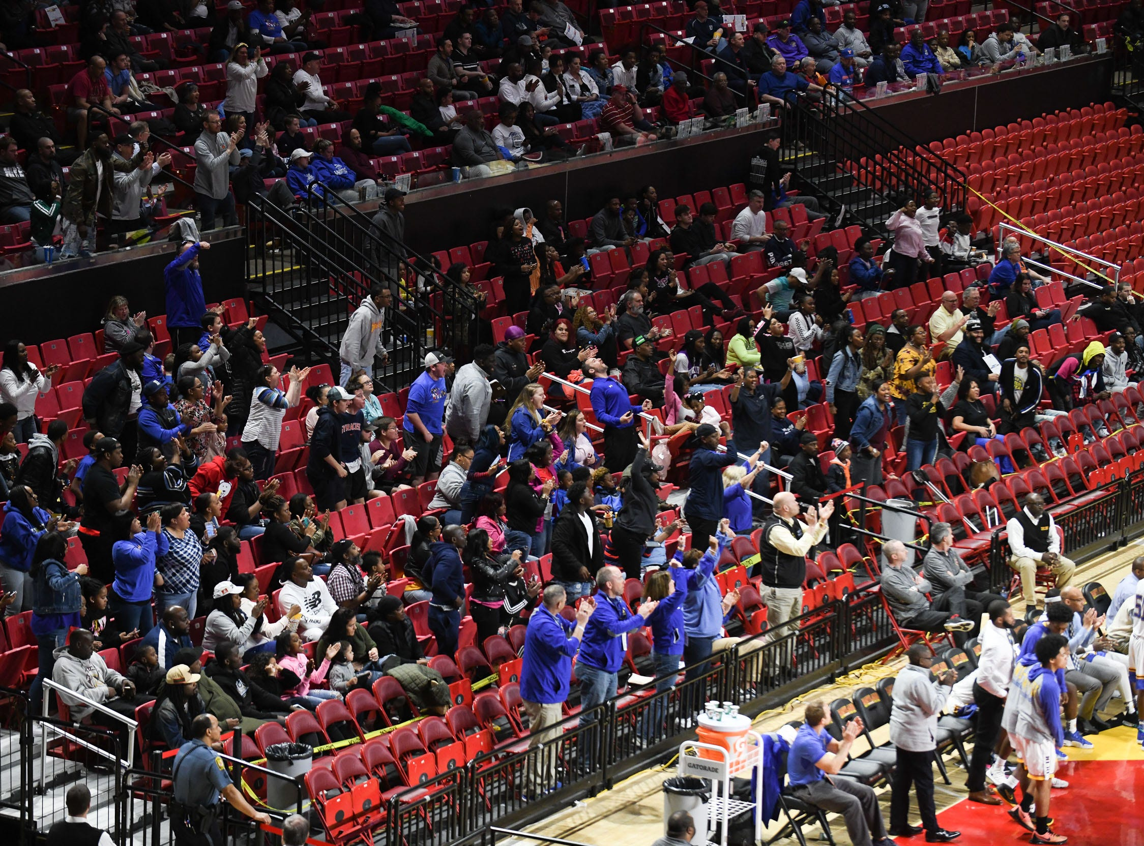 Wi-Hi's fans cheer during the game against Patterson High School during the MPSSA 2A boys state championship on Saturday, March 16, 2019 at The Xfinity Center in College Park, Md.