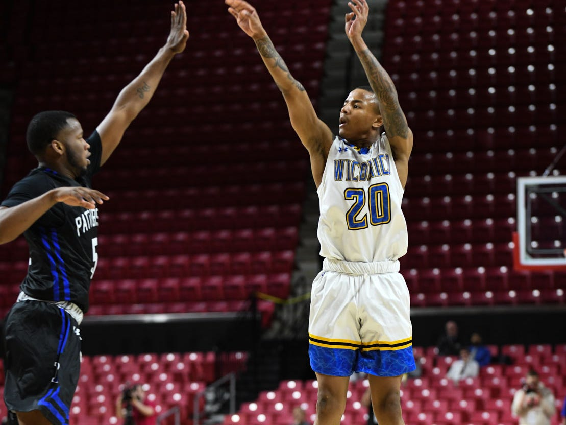 Wi-Hi's Dorian Stevens with the shot against Patterson High School during the MPSSA 2A boys state championship on Saturday, March 16, 2019 at The Xfinity Center in College Park, Md.