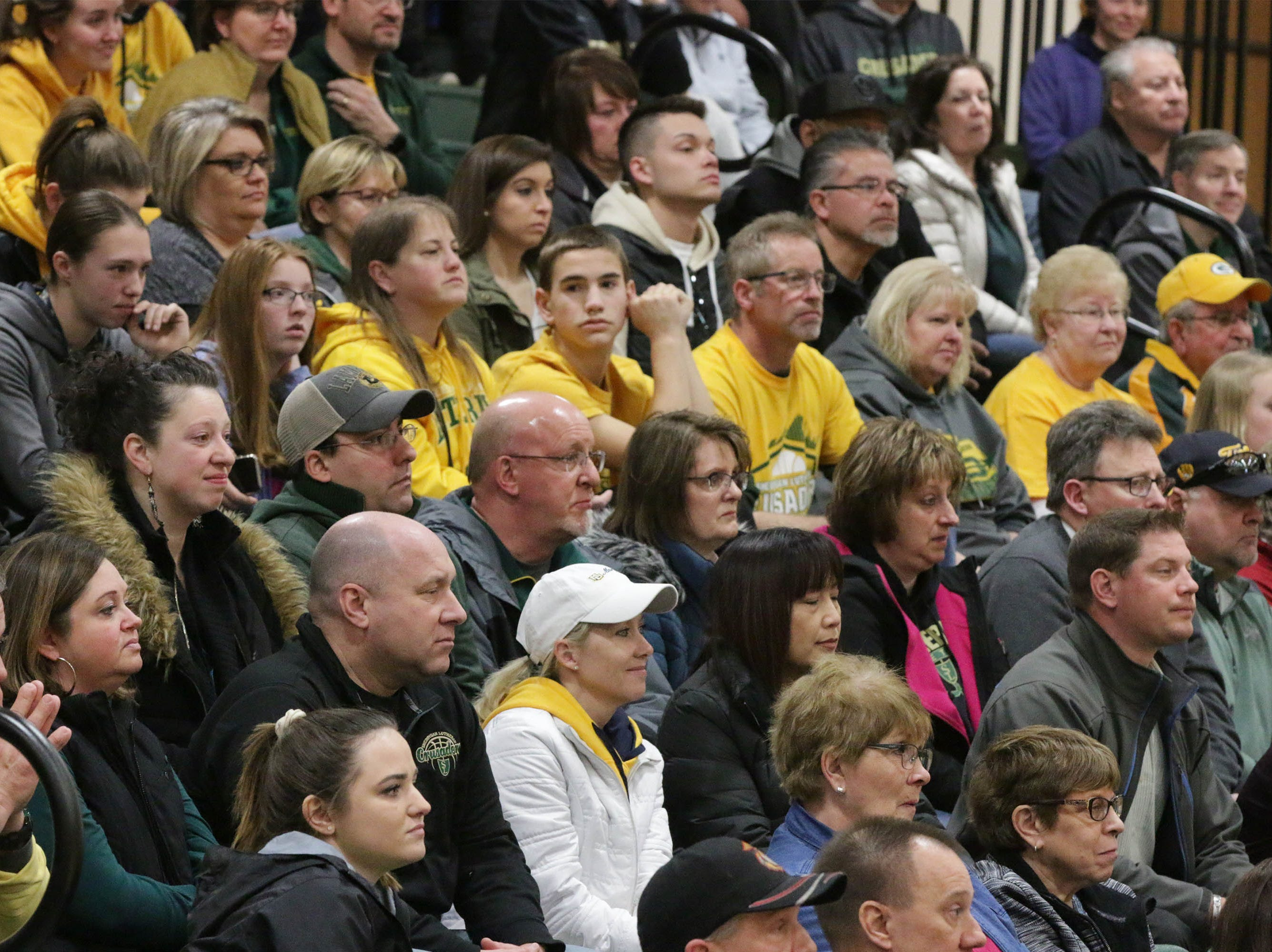 The bleachers were packed with Sheboygan Lutheran fans at a special rally honoring their WIAA Div. 5 State Championship, Sunday, March 17, 2019, in Sheboygan, Wis.