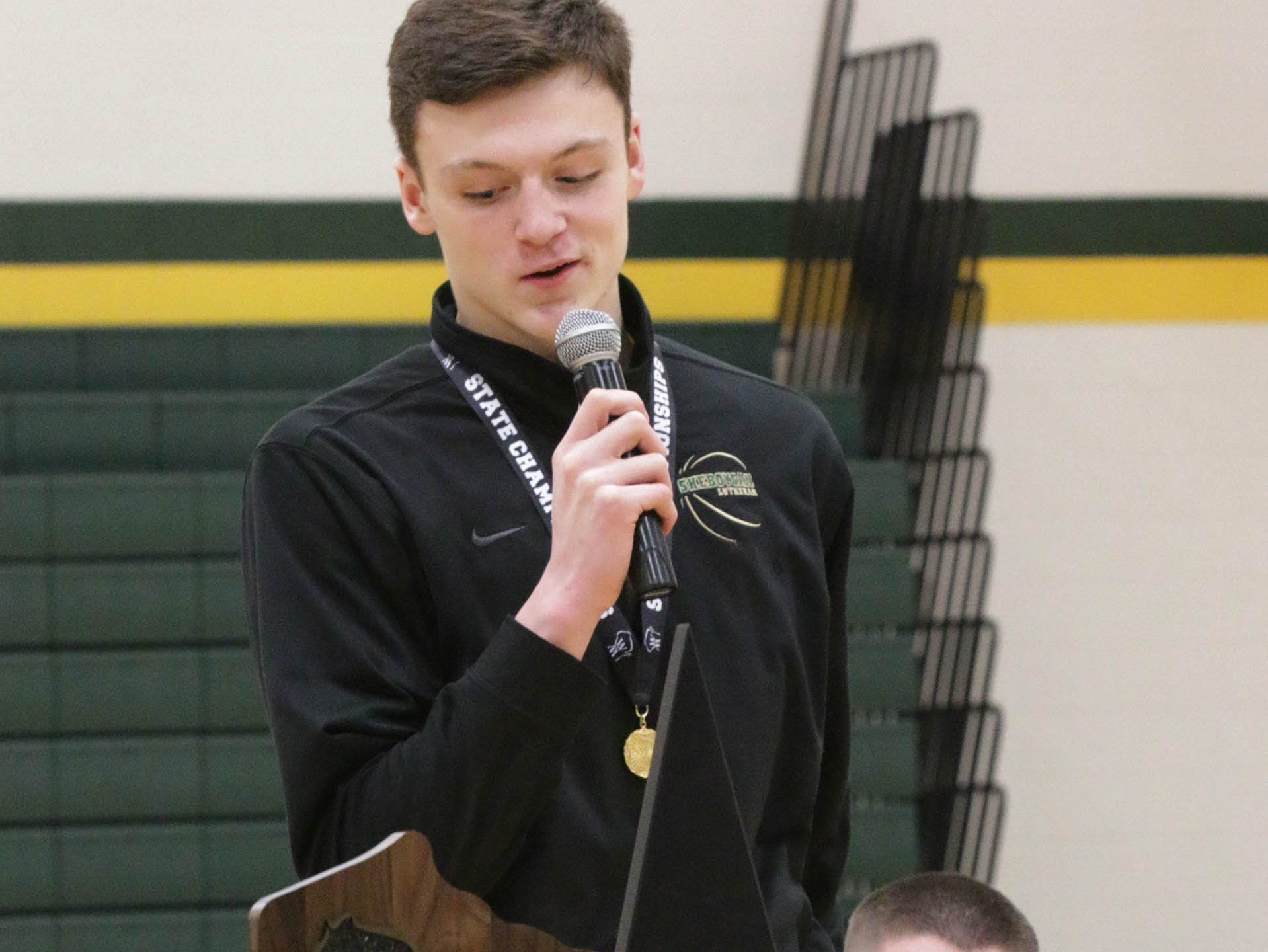 Sheboygan Lutheran player Jacob Ognacevic speaks about his favorite moment at state, Sunday, March 17, 2019, in Sheboygan, Wis.