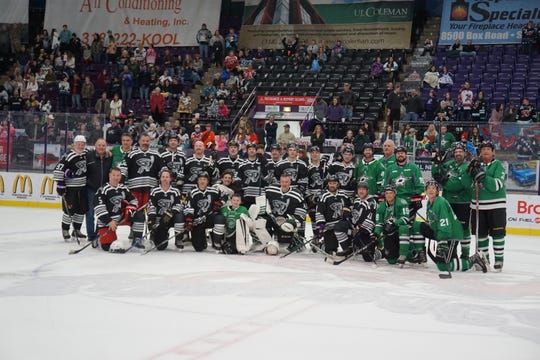 Alumni from the Shreveport Mudbugs and Dallas Stars played on George's Pond on Saturday.