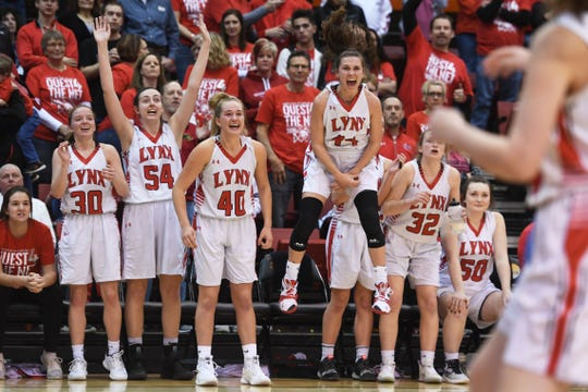 Brandon Valley begins to cheer near the end of the game against Lincoln in the Class AA finals Saturday, March 16, in Rapid City.